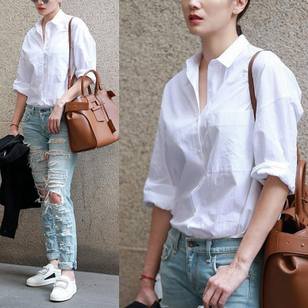 Basic White Full-Sleeve Shirt worn by a model in two side by side photos