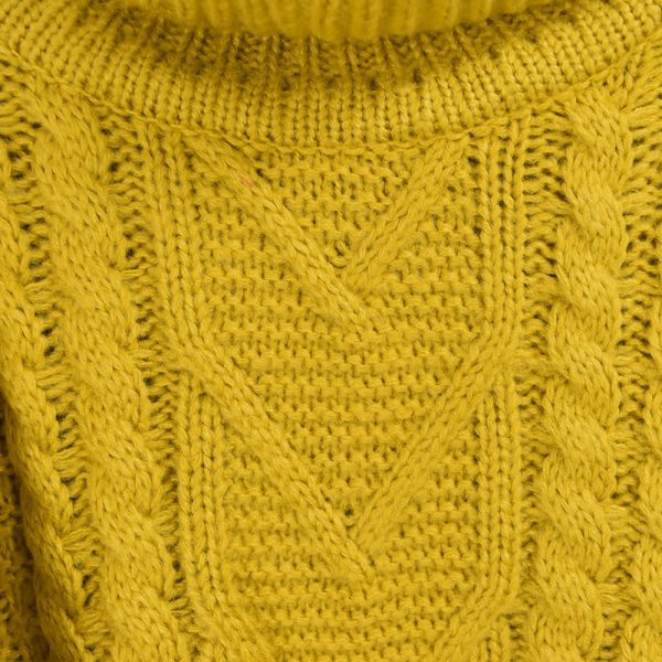 Turtleneck Knit Sweater close up at the crochet